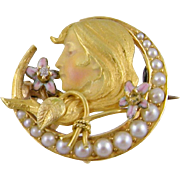 ANTIQUE ART NOUVEAU 14 Kt Gold Enamel  Beautiful Woman on Half Moon Diamond Seed Pearls Brooch
