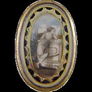 Antique English Georgian Low Karat GOLD ENAMEL MEMORIAL Woman at Plinth Painting Brooch