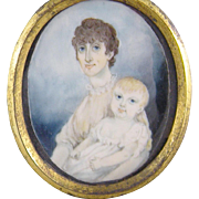 Antique Irish Circa 1820 Framed MOTHER and CHILD  Miniature Portrait