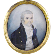 Antique Irish  1820 Father and Husband  in Blue Framed  MINIATURE PORTRAIT