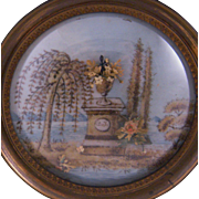 Antique  FRENCH MEMENTO MORI Mourning with Plinth Weeping Willow Tree with Maserated Hair Memorial Painting