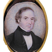 Antique AMERICAN MINIATURE Portrait of a Gentleman in Black - Red Tag Sale Item