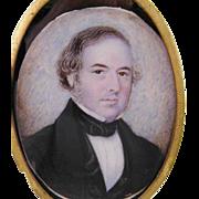 Antique AMERICAN MINIATURE Portrait of a Gentleman in Black