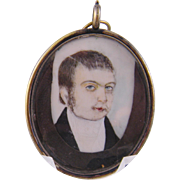 Antique English Miniature  PORTRAIT of a CLERGYMAN in Memorial Hair Art Frame
