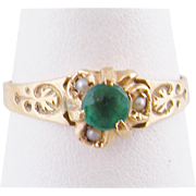 Antique Victorian Gold with  EMERALD and  Seed Pearls Ring