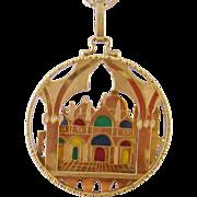 Estate 18 Karat Gold  PLIQUE a JOUR Domed Building Pendant  on Chain