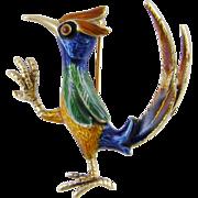 Charming Estate Vintage 14 Karat Gold with Poly Chrome  ENAMEL BIRD Brooch