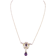 Antique  ART NOUVEAU 14 K Rose and Green Gold Amethyst Pendant Necklace