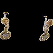 Antique  ART DECO 12 Karat Gold with Small Diamond Earrings