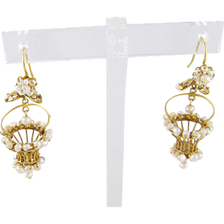 Antique Victorian Whimsey 14 Karat Gold  and PEARLS BASKET EARRINGS