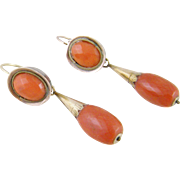 Superb Antique Gold over Silver Carved  OXBLOOD CORAL Faceted Drop Earrings