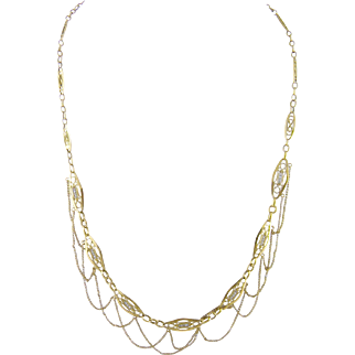 Antique 18 Karat Gold French with Navette Links and Seed Pearls  FESTOON NECKLACE