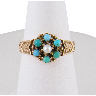 Antique English 10 Karat Gold  with TURQUOISE and SEED PEARL Flower Ring