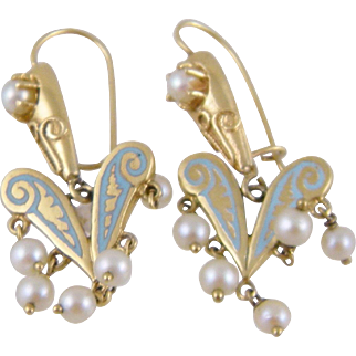 Antique 14 Karat Gold with ROBINS EGG BLUE Enamel Work and Seed Pearls Earrings