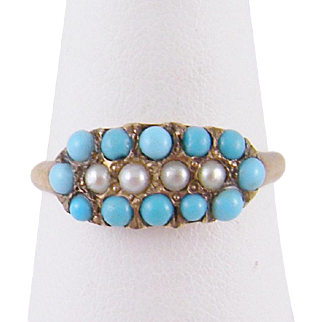 Antique 10 Karat Gold Ring with Seed Pearls and TURQUOISE  RING