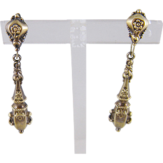 Superb Antique 14 Karat Gold  BAROQUE STYLE Drop Earrings