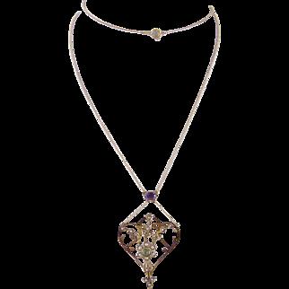 Antique  ART NOUVEAU SUFFRAGETTE 14 Karat Gold Amethyst Peridot Pendant on Chain Necklace