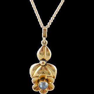 Antique  ART NOUVEAU 14 Karat Gold  AQUAMARINE Floral Pendant  on Chain Necklace