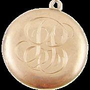 ANTIQUE SKM & CO 10 Karat Gold Monogrammed Roundel Locket