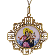 Antique Gold Frame Religious Enamel  2 Sided Sacred Heart  and MOTHER and CHILD PENDANT