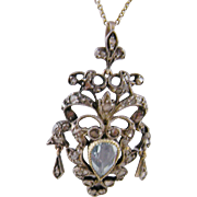 Antique Georgian Gold over Silver with ROSE CUT DIAMONDS and Aquamarine Pendant