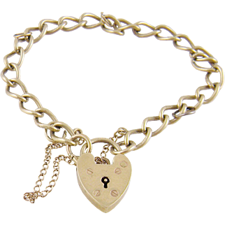 Antique 9 Karat Gold Hallmarked Chain with Heart  PADLOCK BRACELET