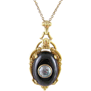 Antique Art Deco  BLACK ONYX  and AQUAMARINE 10 Karat Gold Frame Pendant