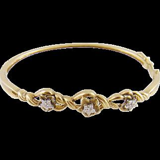 Estate 14 Karat Gold with Diamond Flowers BANGLE BRACELET