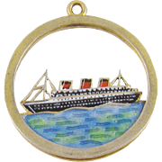 Antique Estate 9 Karat  ENAMEL GOLD CRUISE SHIP Liner on Sea Charm Pendant