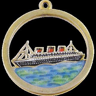 Antique Estate 9 Karat  ENAMEL GOLD CRUISE SHIP Liner on Sea Charm Pendant