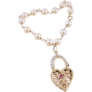 Antique 14 Karat Gold  with Seed Pearls and Heart  with KEY CHARM BRACELET