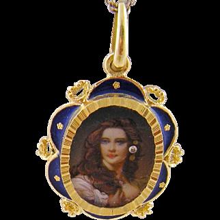 Antique 18 Karat Gold en Habille  Miniature Portrait Wearing  a DIAMOND ENAMEL PENDANT