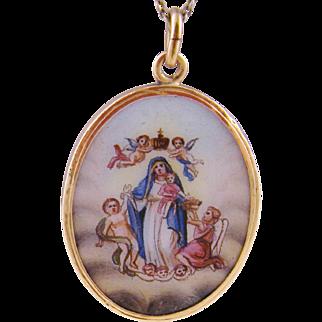Antique 14 Karat Gold Virgin Mary with Winged Cherubs and Baby Jesus RELIGIOUS ENAMEL PENDANT