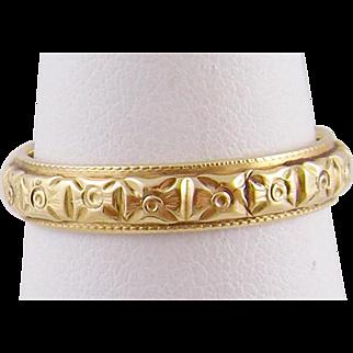 Antique Art Deco 14 Karat Gold Hallmarked  ENGRAVED BAND RING