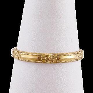 Antique Art Deco  10 Karat Gold Hallmarked  Engraved  DAISY UNISEX BAND RING