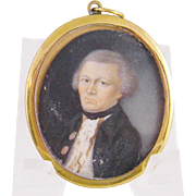 Antique 18th Century English Gentleman MINIATURE PORTRAIT in  Frame