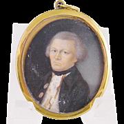 Antique 18th Century English Gentleman MINIATURE PORTRAIT in  Frame