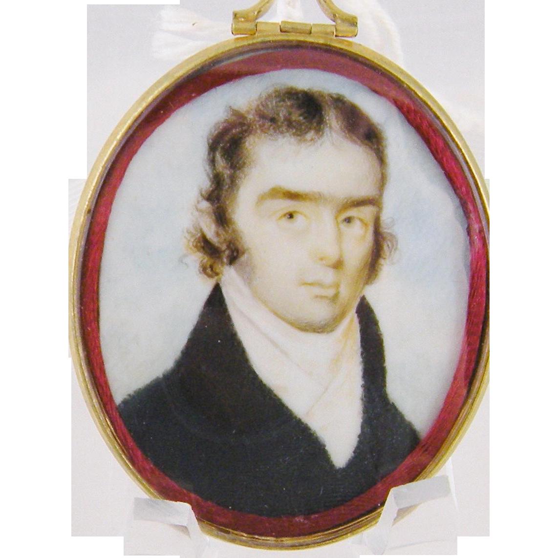 Antique  1800's AMERICAN GENTLEMAN in Dark Coat with Realistic Hair Miniature Portrait