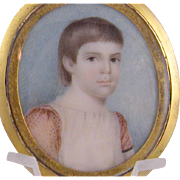 Antique Miniature Portrait of a  YOUNG BOY in Shakesperian Garb in Locket FRame