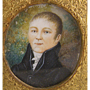 Antique 1800's English Gentleman with Pastoral Background  MINIATURE PORTRAIT