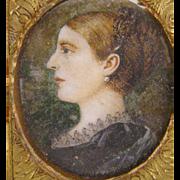 Antique  1800's ENGLISH WOMAN with Pastoral Background Miniature Portrait