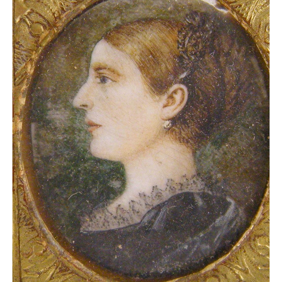Antique  1800's ENGLISH WOMAN with Pastoral Background Miniature Portrait
