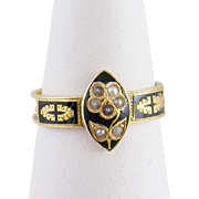 Antique English  1840 15 Kt Gold with Black Enamel and Seed Pearls Floral MOURNING   MEMORIAL RING