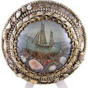 Antique New England  SHELL ART with Schooner and Coral Roundel  SAILORS VALENTINE