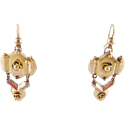 Antique  IMPERIAL RUSSIAN Hallmarked 14 Karat Gold Drop Earrings