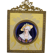 ANTIQUE VIENNESE ENAMEL Signed Bronze Frame Portrait of Marie Antoinette
