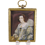 Antique English Elizabethan Style Woman in Costume MINIATURE PORTRAIT