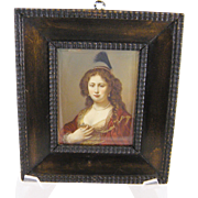 Superb Antique  RENAISSANCE WOMAN in Red and Gold Framed Miniature Portrait