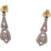 Superb AntiqueGold over Silver Emeralds  and DIAMONDS EARRINGS