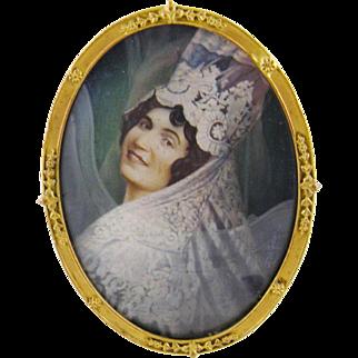 Antique Signed spanish Woman  in Lace Mantilla  MINIATURE PORTRAIT